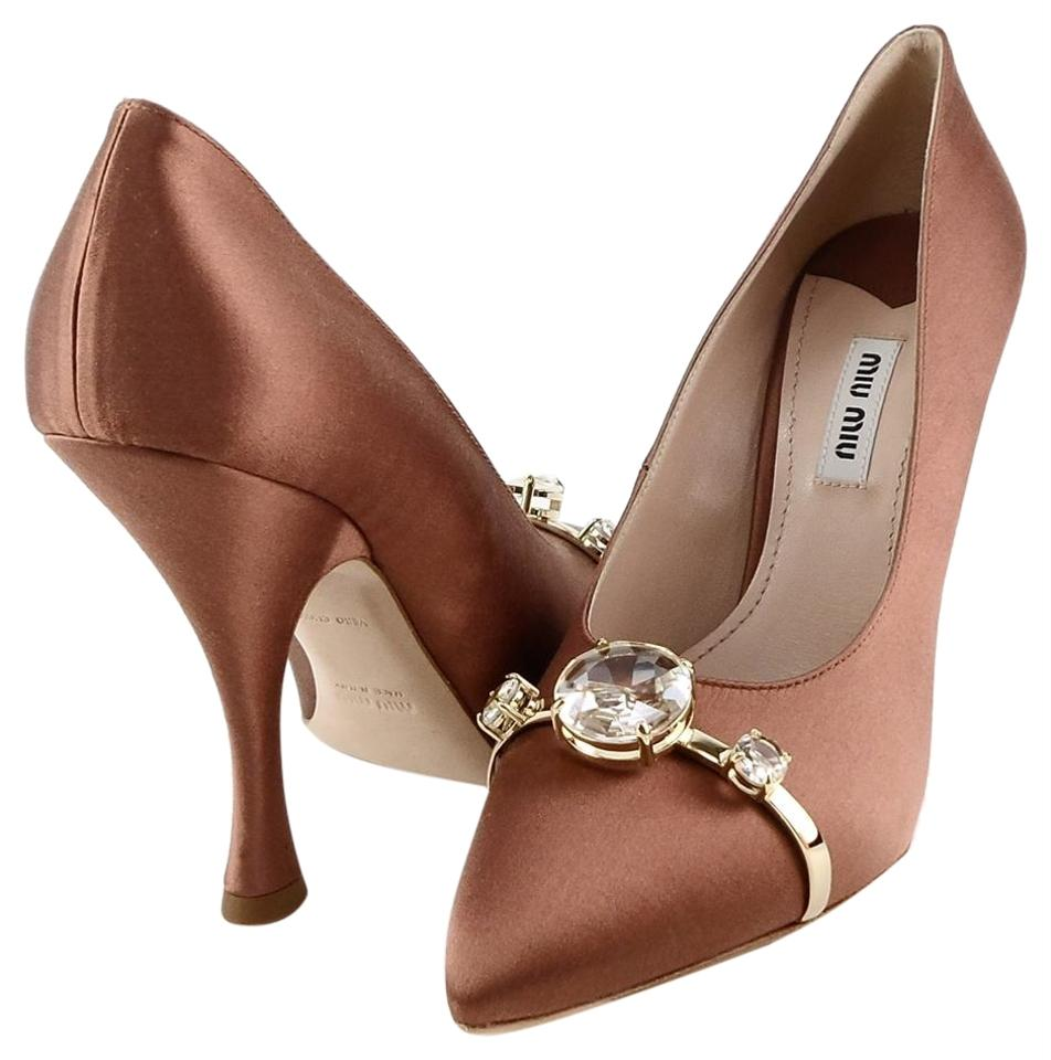33640bbf7f Miu Miu Cacao 5ip401 Brown Evening Jeweled Pointed Pumps Size EU ...