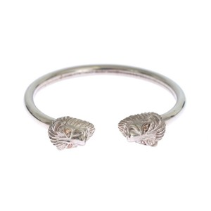 Silver D353-1 Lion 925 Sterling Bangle Bracelet (Small) Men's Jewelry/Accessory