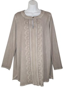 Soft Surroundings Distressed Cotton Oil Wash Soutache Stretch Tunic