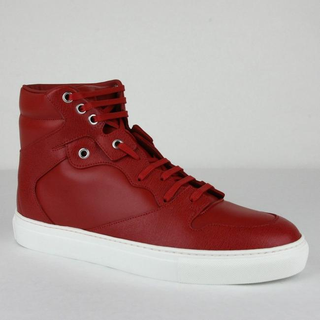 Item - Dark Red Leather/Coated Canvas Hi Top Sneaker It 44/Us 11 391205 6479 Shoes