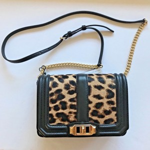Rebecca Minkoff Love Small Leopard Animal Print Calf Hair Fur Leather Twist Lock Cross Body Bag