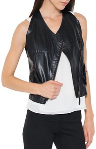 FATE Faux Leather Leather Vest Vest Leather Military Top Black