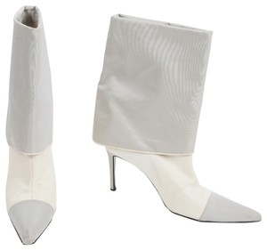 Chanel Midcalf Pointed Toe Grey & White Boots
