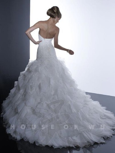 Christina Wu Ivory Over Dark Ivory Lace and Organza 15511 Traditional Wedding Dress Size 10 (M)