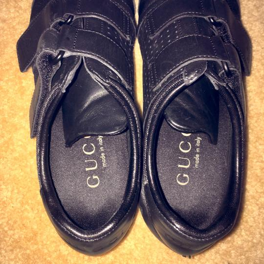 Gucci Leather Velcro Monogram Flat Rubber Black Athletic