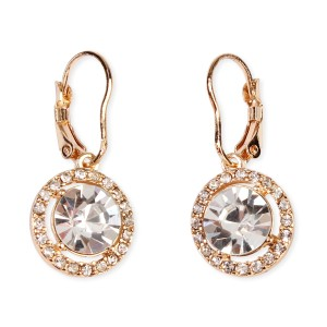 Riah Fashion Round Lever Back Crystal Earrings