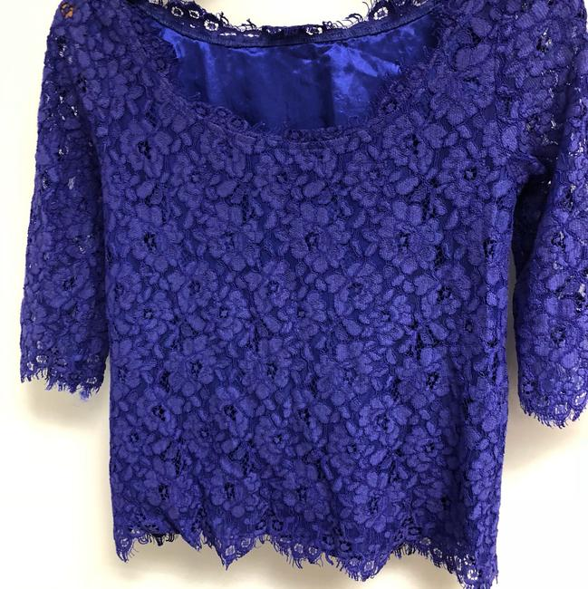 Saks Fifth Avenue Lace Fitted Top Royal Blue/purplish