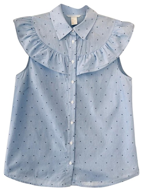 Preload https://img-static.tradesy.com/item/24239617/h-and-m-blue-polka-dot-ruffle-button-down-top-size-6-s-0-1-650-650.jpg