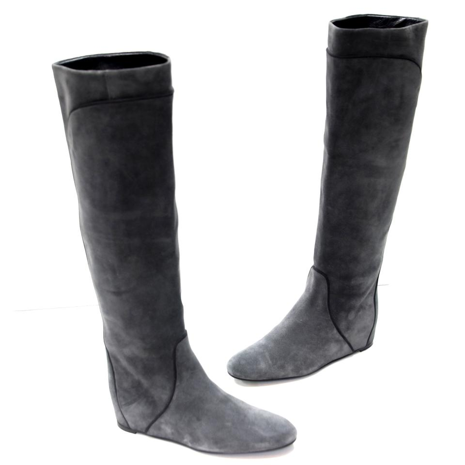 5f6d591bf5b5 Lanvin Grey and Black Pipe Lining Suede Knee High Concealed Wedge Boots  Booties