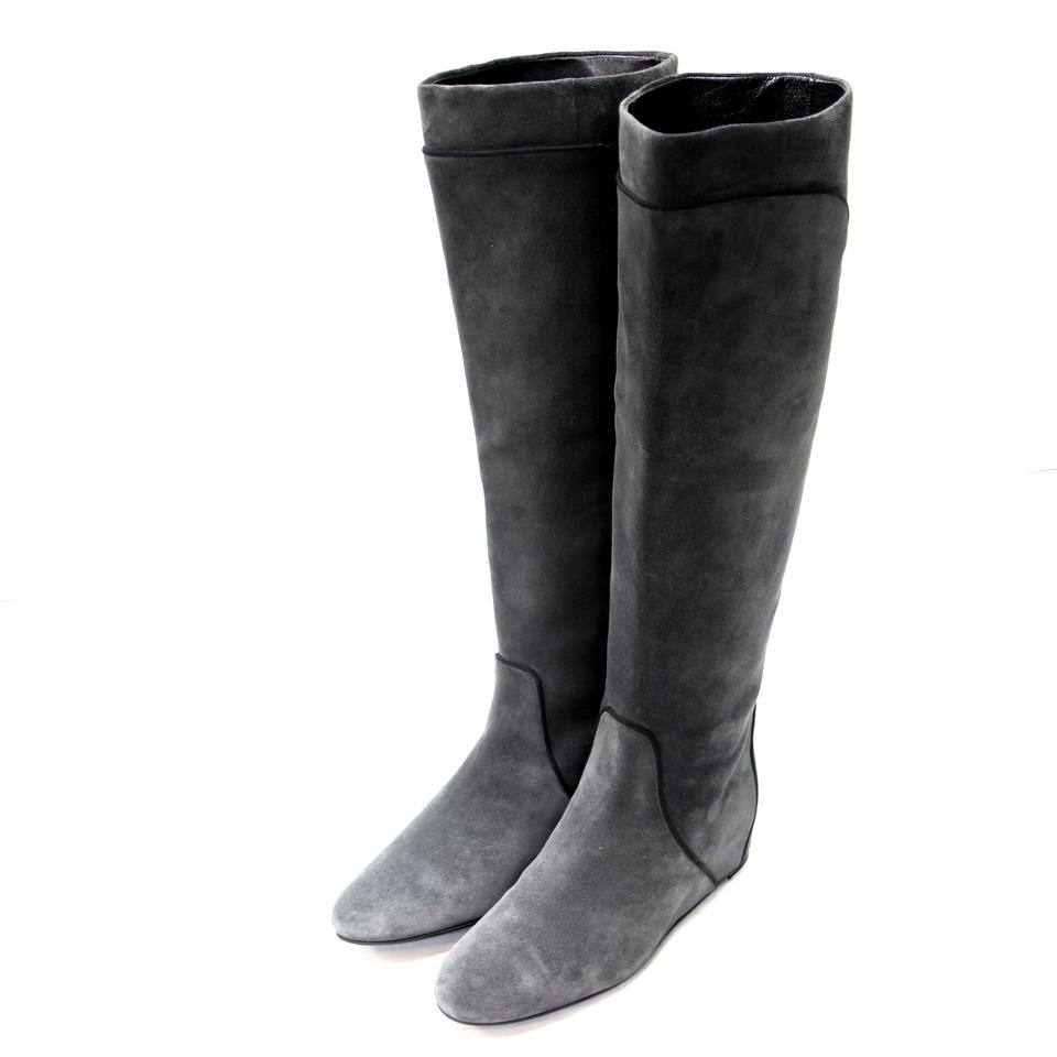 5608dc7e276b Lanvin Grey and Black Pipe Lining Suede Knee High Concealed Wedge ...
