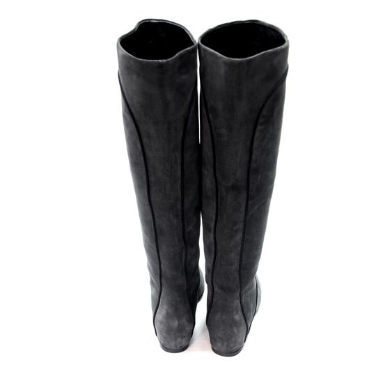 Lanvin Equestrian Fall Winter Transition Jimmy Choo Grey and Black Pipe Lining Boots