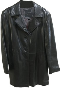 Andrew Marc Soft Leather Leather Classic Black Blazer