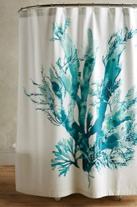 Anthropologie Blue Gingko Shower Curtain Other