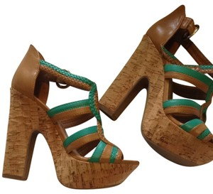 BCBGeneration Tan/green Platforms