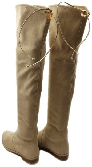 Stuart Weitzman Over The Knee Stretch Suede Pull On Buff Boots