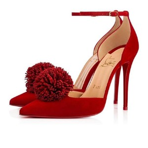 Christian Louboutin Classic Heels Suede Fringe Pom Pom Red Pumps