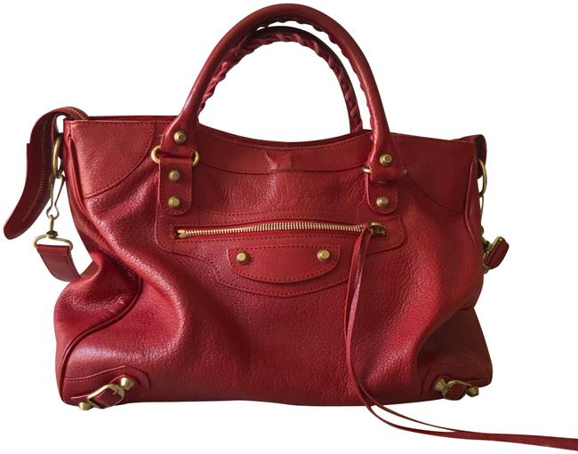 Item - City Red Lambskin Leather Satchel