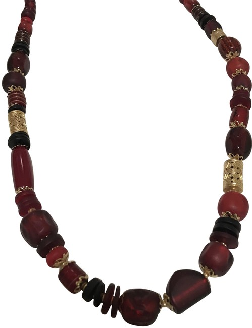 Item - Red/Gold Long Beaded Single Strand Necklace