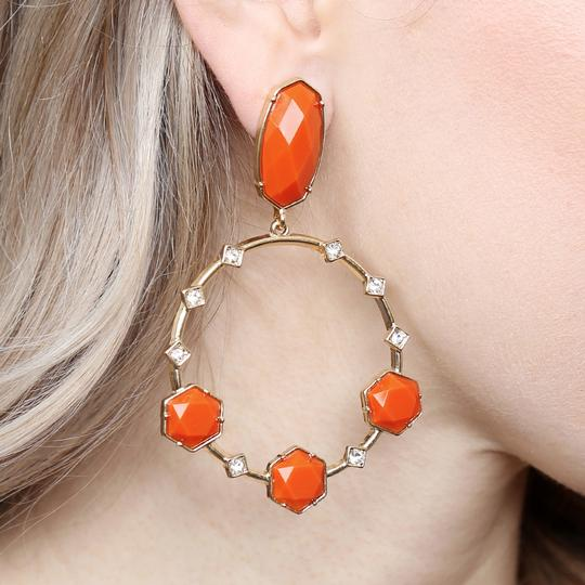 Riah Fashion Geometric Stone Post Drop Hoop Earrings