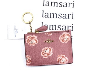 Coach Mini Skinny ID Case Keychain Coin Purse with Rose Print /Brass
