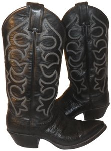 Justin Cowboy Leather Black with white stitching Boots