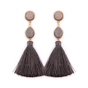Riah Fashion Druzy Tassel Statement Earrings