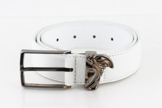 Versace Collection Versace Collection White Textured Leather Half Medusa Belt