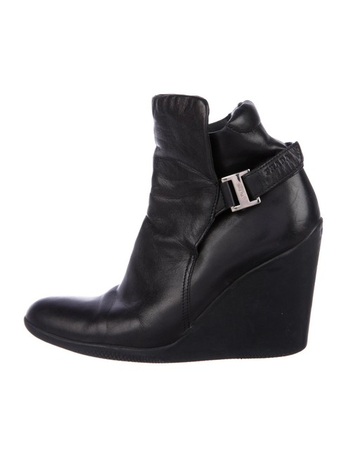 Item - Black Leather Wedge Boots/Booties Size US 5.5 Narrow (Aa, N)