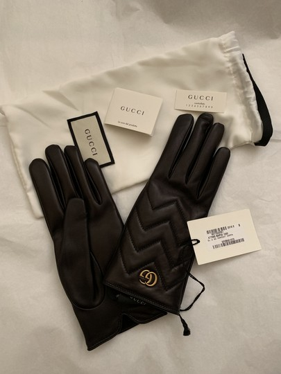 Gucci GG Marmont Chevron Gloves - Size 8