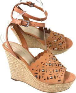 Marc Fisher Suede Studded Cut-out Ankle Strap Brown Wedges
