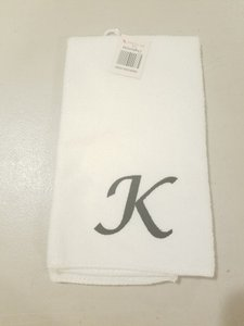 White Set 2 Embroidered Hand Towels Color Black K Initials 18 Other