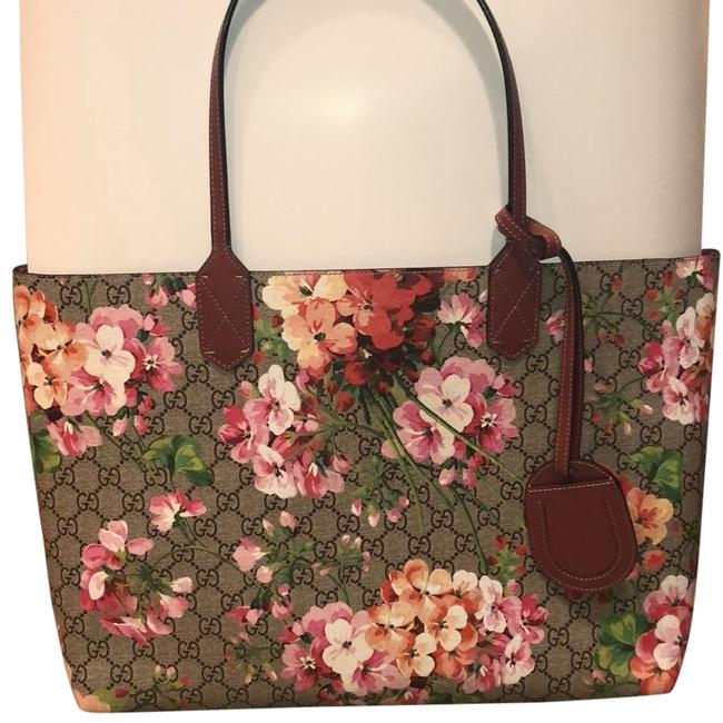 Item - W W/ Flowers Multi Pink & Gg Signs Leather Tote