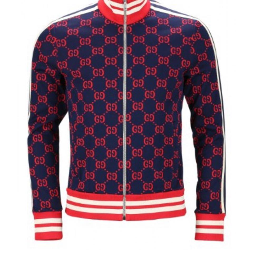 f5843fb15 Gucci Navy Blue Red Tan Gg Jacquard Technical Jacket Size 8 (M ...