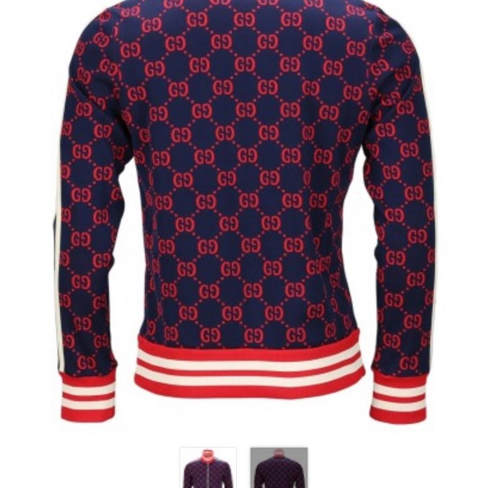 0417aeb47 Gucci Navy Blue Red Tan Gg Jacquard Technical Jacket Size 8 (M ...