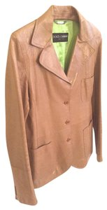 Dolce&Gabbana Leather Patent Leather Tan & Bright Lime Green Blazer