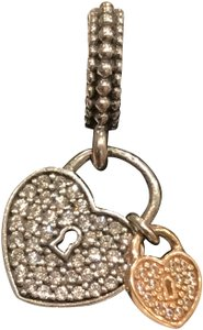 PANDORA Authentic Pandora Love Locks Hanging Heart Charm Two Toned and Clear CZ Genuine