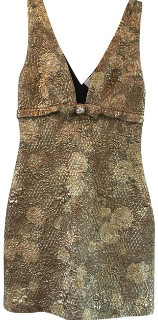 Item - Taupe Gold Silk Short Cocktail Dress Size 2 (XS)