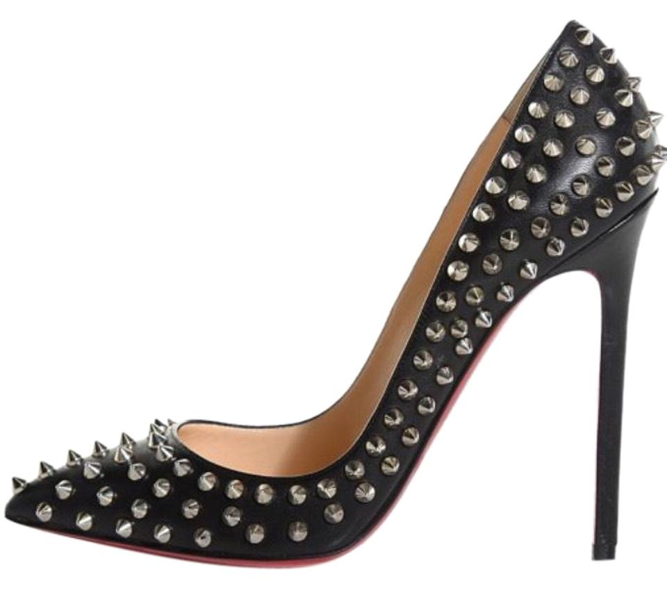 c09c3fcf4e32 Christian Louboutin Black Pre-2013 Pigalle Spikes 120 Mm Heels Silver Pumps