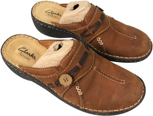 Clarks Leather Brown Mules