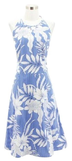 Item - Blue A30 New Designer Floral Fit and Flare Short Casual Dress Size 12 (L)
