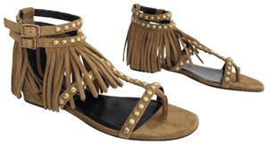 Saint Laurent Nu Pied Tassel Studded Fringe Flat Tan Sandals