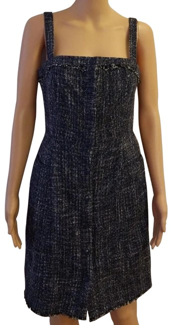 Item - Blue Knit Button Front Mid-length Work/Office Dress Size 4 (S)