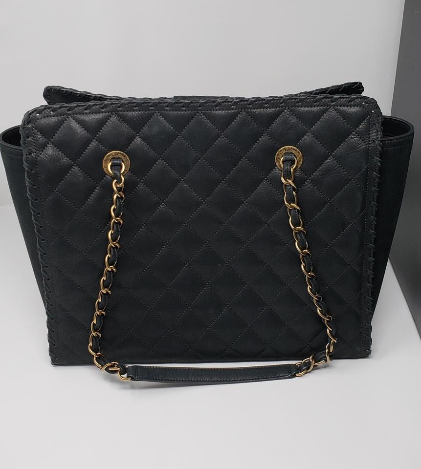 2a802f81e160 Chanel Shopping Tote Like New Iridescent Calfskin Quilted Happy Stitch  Black Leather Shoulder Bag - Tradesy
