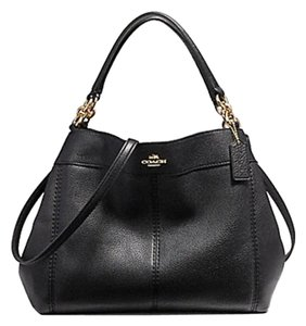 Coach Leather Tags New Edde Large Satchel in Black