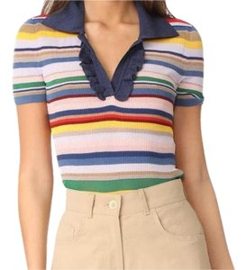 Alice + Olivia Top rainbow striped