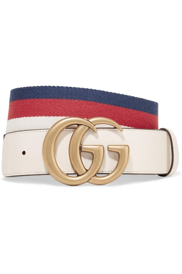 cddcb4080 Gucci Gucci size 85 Striped canvas and leather belt Image 0 ...
