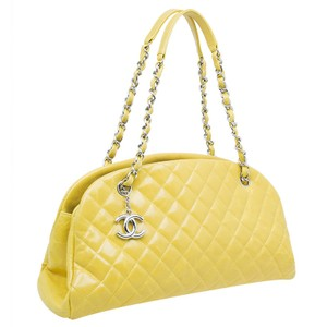 Chanel Mademoiselle Quilted Fabric Satchel in Yellow
