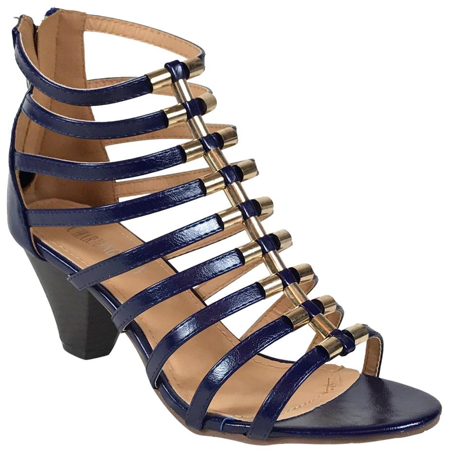 b728b472cbd3 Blue Navy Low Heel Strappy Gladiator Heels Sandals Size US 7.5 ...