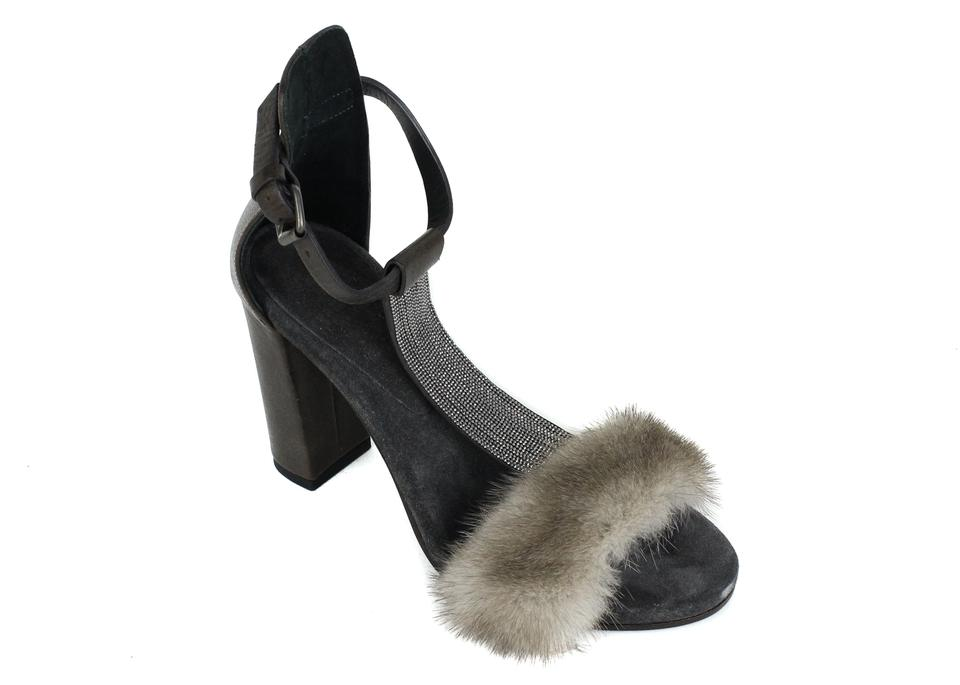 0d564444411 Brunello Cucinelli Brown Grey Womens Mink Fur Monili Tfh 415 Pumps ...
