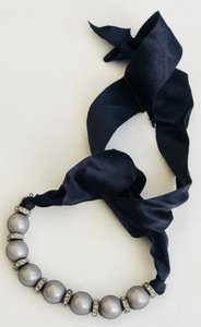 Lanvin Vintage Pearl and Organza Bracelet with Navy Ribbon Tie